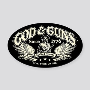 God & Guns Oval Car Magnet